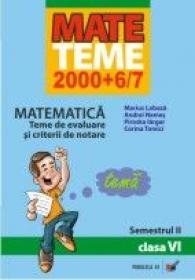 Matematica. Teme De Evaluare si Criterii De Notare. Clasa A Vi-a. Semestrul Ii